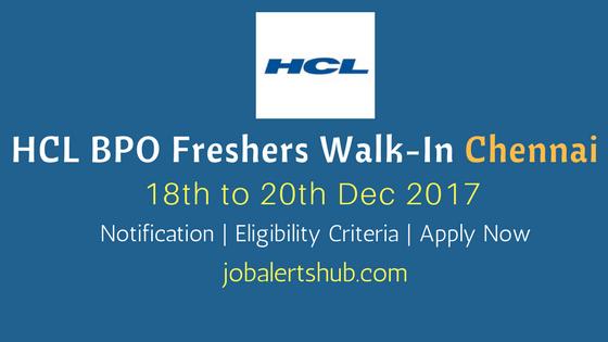 HCL BPO Walkin Chennai 2018