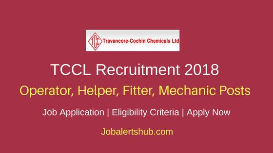 TCCL 2018 Operator, Helper, Fitter, Mechanic Jobs