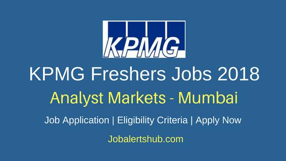 KPMG Analyst Markets Mumbai Freshers Jobs 2018