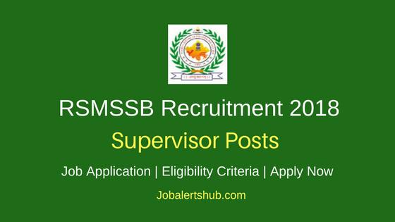 RSMSSB Supervisor Recruitment 2018 Notification Govt. Jobs