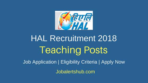 HAL High School Teaching Recruitment 2018 Job Notification