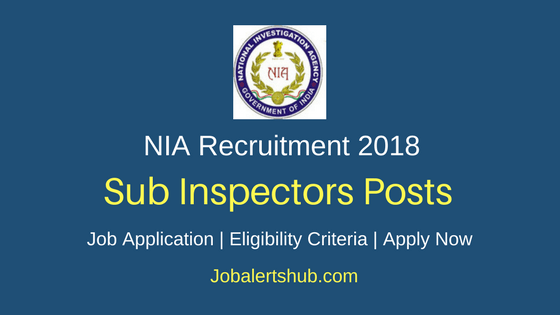 National Investigation Agency 2018 Sub Inspector Recruitment