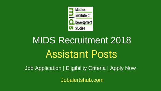 MIDS Chennai Assistant Recruitment Notification