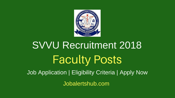 SVVU Teaching Faculty Recruitment Job Notification