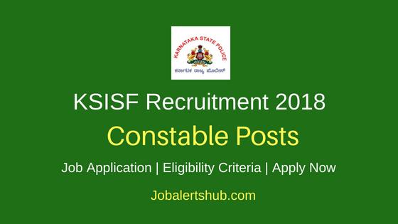 KSISF Constable 2018 Recruitment Notification