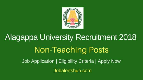 Alagappa University Non Teaching Recruitment Notification