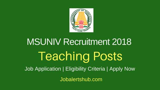 MSUNIV Teaching Job Notification