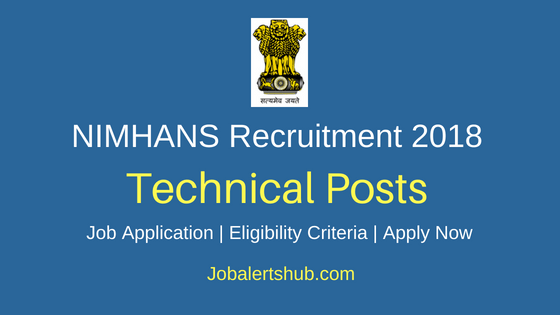 NIMHANS Technical Posts Job Notification