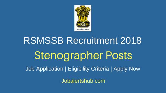 RSMSSB Stenographer Job Notification