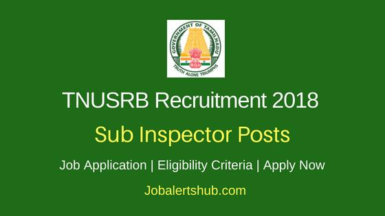 TNUSRB Sub Inspector Job Notification