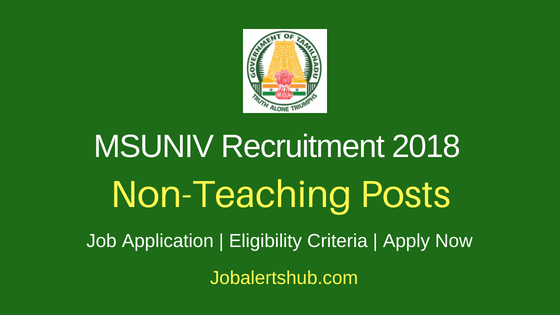 MSUNIV Tirunelveli Non Teaching Recruitment Notification