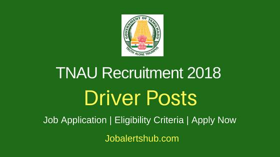 TNAU Driver Job Notification