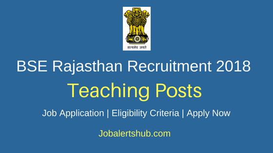 BSE Rajasthan Teaching Recruitment Notification