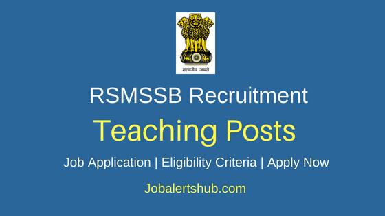 RSMSSB Teaching Job Notification