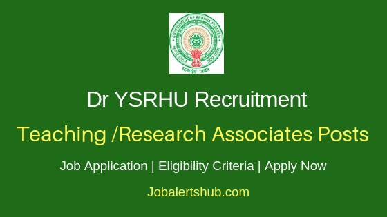 Dr YSRHU Teaching Associate Research Associates Job Notification