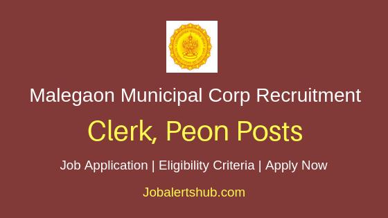 Malegaon Municipal Corporation Clerk Peon Job Notification