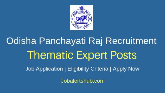 Odisha Panchayati Raj Thematic Expert Job Notification