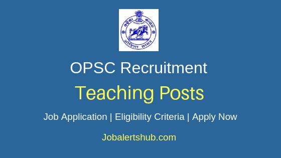 Odisha PSC Teaching Job Notification