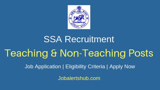 SSA Teaching And Non-Teaching Job Notification