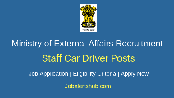 Ministry of External Affairs Staff Car Driver Job Notification
