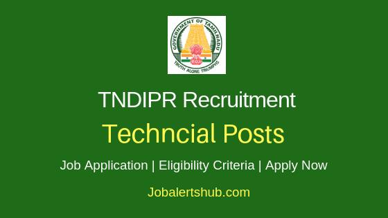 TNDIPR Techncial Job Notification