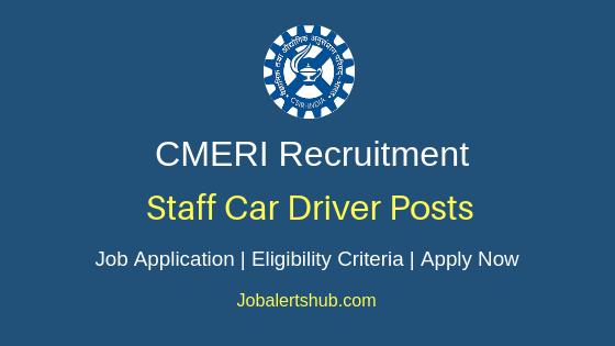 CMERI Staff Car Driver Job Notification