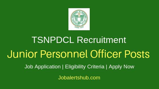 TSNPDCL Junior Personnel Officer Job Notification