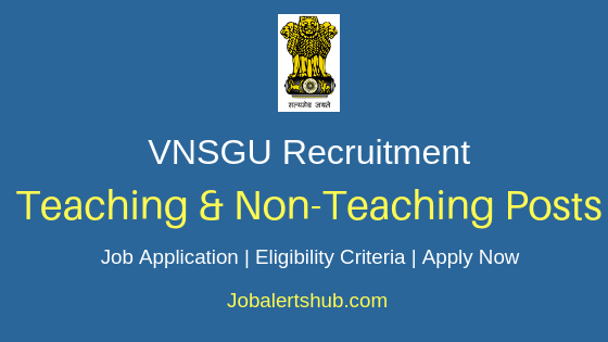 Veer Narmad South Gujarat University Teaching & Non-Teaching Job Notification