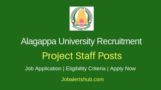 Alagappa University Project Staff Job Notification