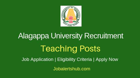 Alagappa University Teaching Staff Job Notification