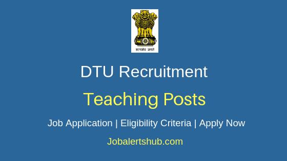 DTU Teaching Job Notification