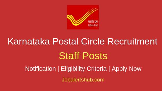 Karnataka Postal Circle Staff Job Notification