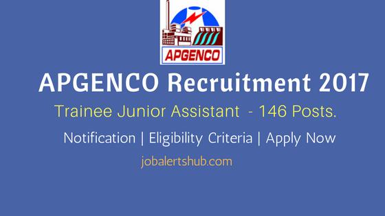 APGENCO Recruitment 2017 Trainee Junior Assistant