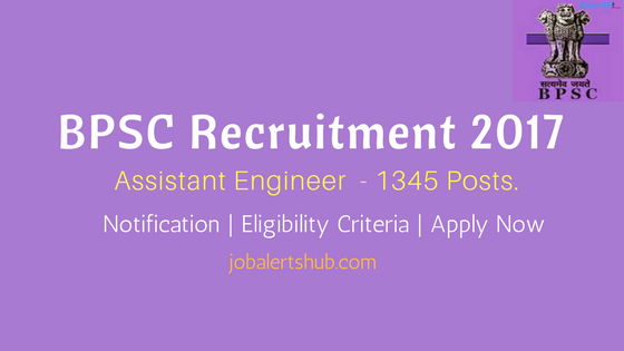 BPSC Assistant Engineer Recruitment 2017