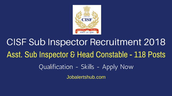 Central Industrial Security Force -CISF-Sub-Inspector-Recruitment-2018-Job-Notification