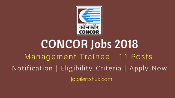 CONCOR Jobs 2018 Management Job Notification