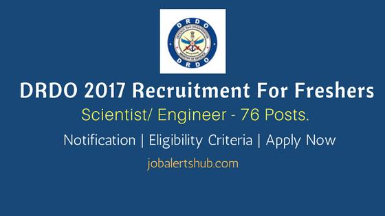 DRDO 2017 Recruitment Scientist Engineer notification