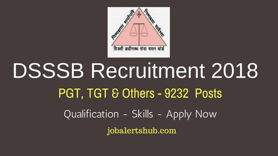 DSSSB Recruitment 2018 PGT, TGT & Other Posts Job Notification