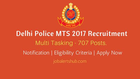Delhi Police MTS 2017 Recruitment for 797 vacancies