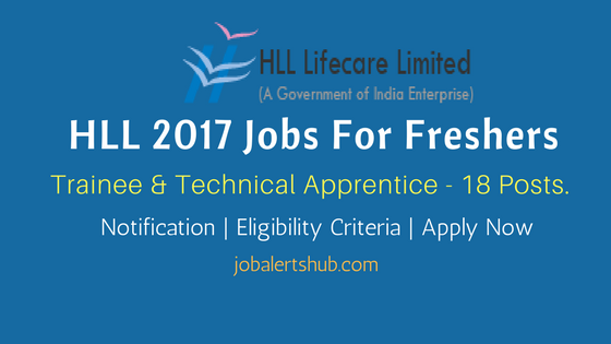 HLL Lifecare 2017 Recruitment Trainee & Technical Apprentice Job Notification for Bangalore location