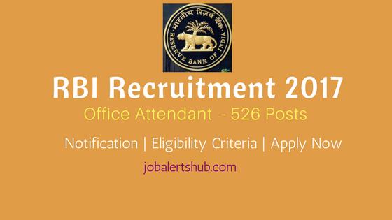 RBI Recruitment 2017 Office Attendant