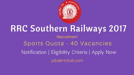 RRC Southern Railways 2017 Sports Quota