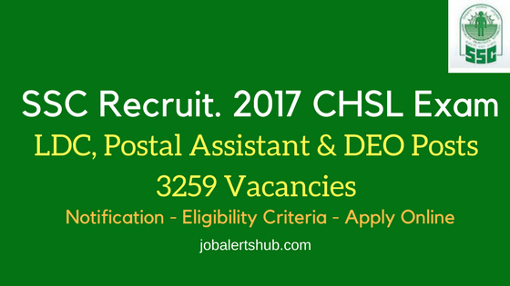 SSC Recruitment 2017 CHSL Exam